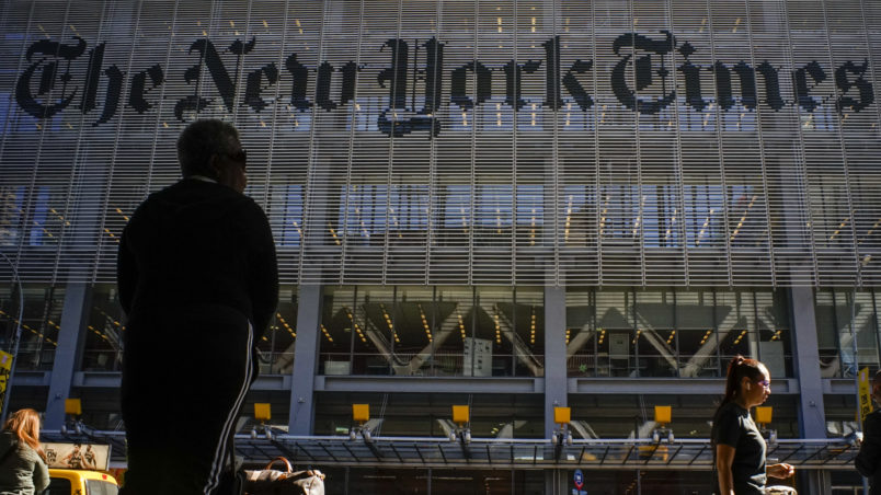 "NEW YORK, USA - October 14: People walk along 8av as the New York Times building is seen at the background on October 14, 2019 in New York, USA. NY Times on Sunday evening, published a story titled, ""Macabre Video of Fake Trump Shooting Media and Critics Is Shown at His Resort."" The video showed the president as a mass shooter where he is executing media and his political opponents inside church. It was dysplayed at a pro Trump conference in Miami. NY Times is an American newspaper based in New York City with worldwide influence,  the paper has won 127 Pulitzer Prizes,  being ranked 18th in the world by circulation.(Photo by Eduardo MunozAlvarez/VIEWpress/Corbis via Getty Images)"