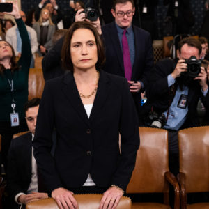 WASHINGTON, D.C., UNITED STATES - NOVEMBER 21 2019:Fiona Hill, former official at the National Security Council specialising in the former Soviet Union and Russian and European affairs, at the U.S. Embassy in Ukraine attends the Open Hearings on the Impeachment of President Donald Trump of the House Intelligence Committee in Washington.