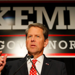 A view of the Election Night event for Republican gubernatorial candidate Brian Kemp at the Classic Center on November 6, 2018 in Athens, Georgia.  Kemp is in a close race with Democrat Stacey Abrams.