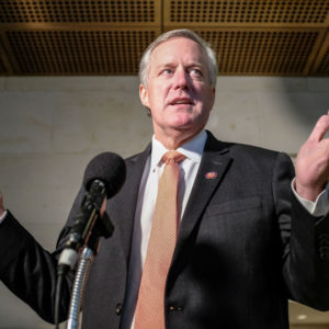 WASHINGTON, DC - OCTOBER 23:  Rep. Mark Meadows, (R-N.C), speaks to members of the media during a closed session on Capitol Hill on October 23, 2019 in Washington, DC. Deputy Assistant Secretary of Defense Laura Cooper was on Capitol Hill to testify to the committees for the ongoing impeachment inquiry against President Donald Trump. (Photo by Alex Wroblewski/Getty Images)