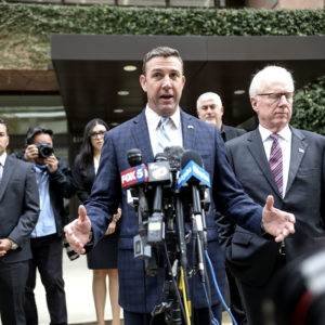 SAN DIEGO, CA - DECEMBER 03:  Rep. Duncan Hunter(R-CA) speaks to embers of the media after  walking out of Federal Courthouse on December 3, 2019 in San Diego, California.   Congressman Hunter is expected to plead guilty to charges that he violated federal campaign finance laws by using campaign funds for extensive personal expenses.(Photo by Sandy Huffaker/Getty Images)