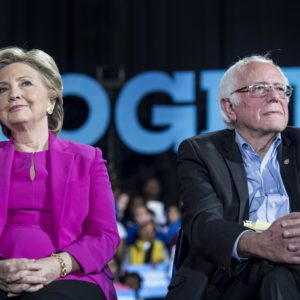 RALEIGH, NC - Democratic Nominee for President of the United States former Secretary of State Hillary Clinton, with Senator Bernie Sanders (I-VT), speaks to and meets North Carolina voters at Coastal Credit Union Music Park at Walnut Creek during a rally in Raleigh, North Carolina Thursday November 3, 2016. (Photo by Melina Mara/The Washington Post)