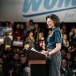 "NEW YORK, NY - JANUARY 15: Diana Taylor addresses the crowd during a campaign rally for 2020 Democratic presidential candidate Mike Bloomberg on January 15, 2020 in New York City. The event marked the kickoff of Bloomberg's ""Women For Mike"" outreach campaign. (Photo by Scott Heins/Getty Images)"