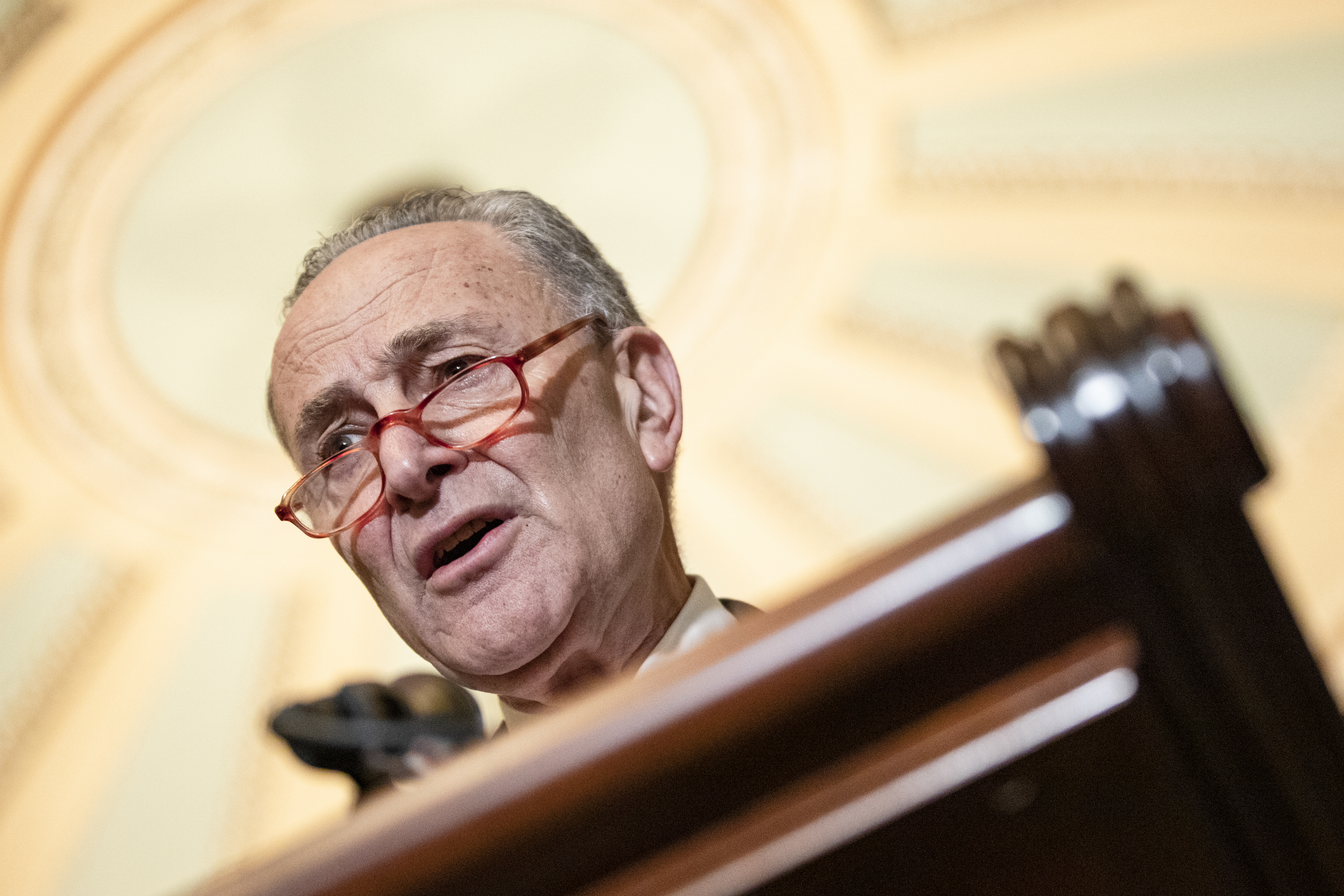 WASHINGTON, DC - MARCH 10: Senate Minority Leader Chuck Schumer (D-NY) talks to reporters following the Senate Democrats weekly policy luncheon on Capitol Hill on March 10, 2020 in Washington, DC. Democratic leadership criticized President Trumps response to the spread of the coronavirus and pushed for relief for individuals that may have to miss work from being quarantined. (Photo by Samuel Corum/Getty Images) *** Local Caption *** Chuck Schumer