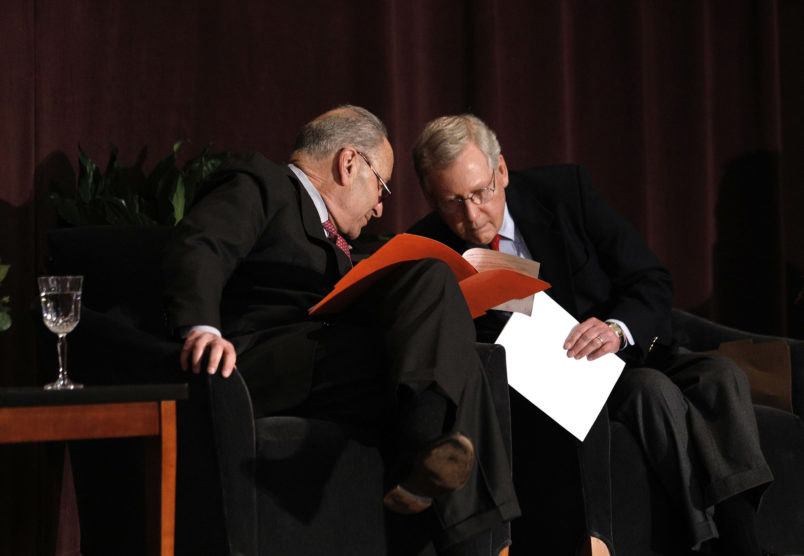 LOUISVILLE, KY-FEBRUARY 12: U.S. Senate Majority Leader Mitch McConnell (right) (R-KY) and U.S. Senate Democratic Leader Chuck Schumer (D-NY) wait the stage together at the University of Louisville's McConnell Center where Schumer was scheduled to speak February 12, 2018 in Louisville, Kentucky. Sen. Schumer spoke at the event as part of the Center's Distinguished Speaker Series, and Sen. McConnell introduced him. (Bill Pugliano/Getty Images)