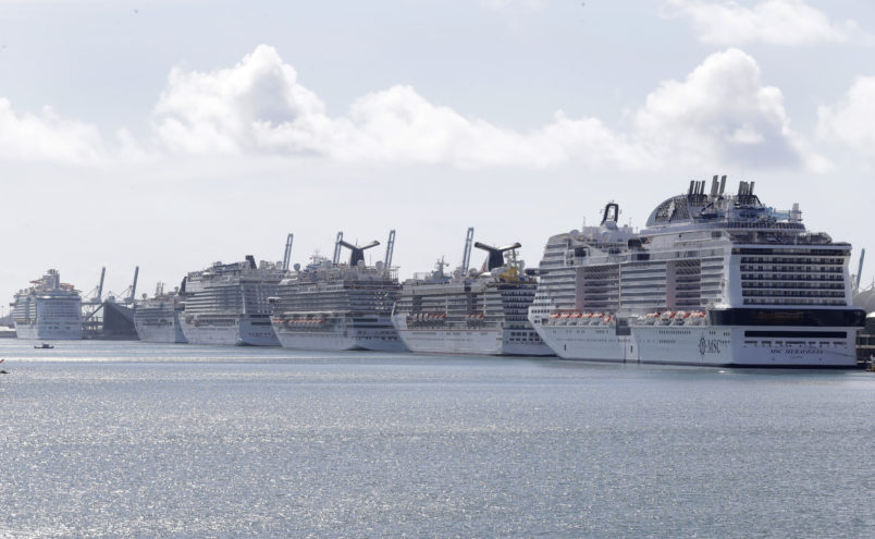 Cruise ships are shown docked at PortMiami, Tuesday, March 31, 2020, in Miami. (AP Photo/Wilfredo Lee)