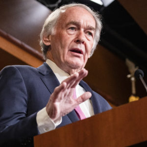 WASHINGTON, DC - JANUARY 24: Senator Ed Markey (D-MA) speaks during a press conference on the Senate impeachment trial of President Donald Trump on January 24, 2020 in Washington, DC. Democratic House managers conclude their opening arguments on Friday as the Senate impeachment trial of President Donald Trump continues into its fourth day. (Photo by Samuel Corum/Getty Images) *** Local Caption *** Ed Markey