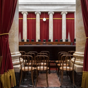 The empty courtroom is seen at the U.S. Supreme Court in Washington as the justices prepare final decisions of the high court's term, Monday, June 24, 2019. (AP Photo/J. Scott Applewhite)