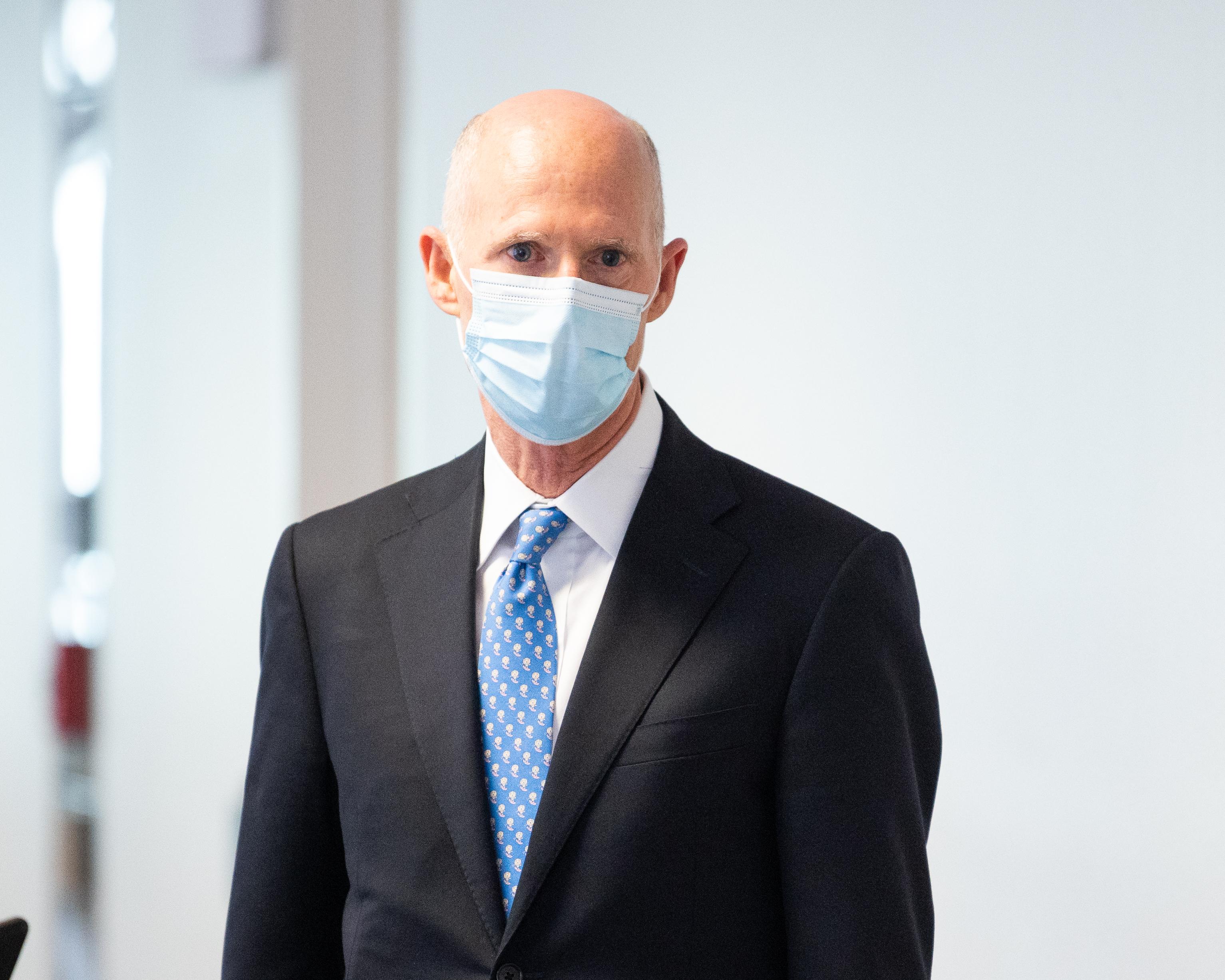 WASHINGTON, UNITED STATES - MAY 05, 2020: U.S. Senator, Rick Scott (R-FL) wearing a face mask as a precaution against covid 19.