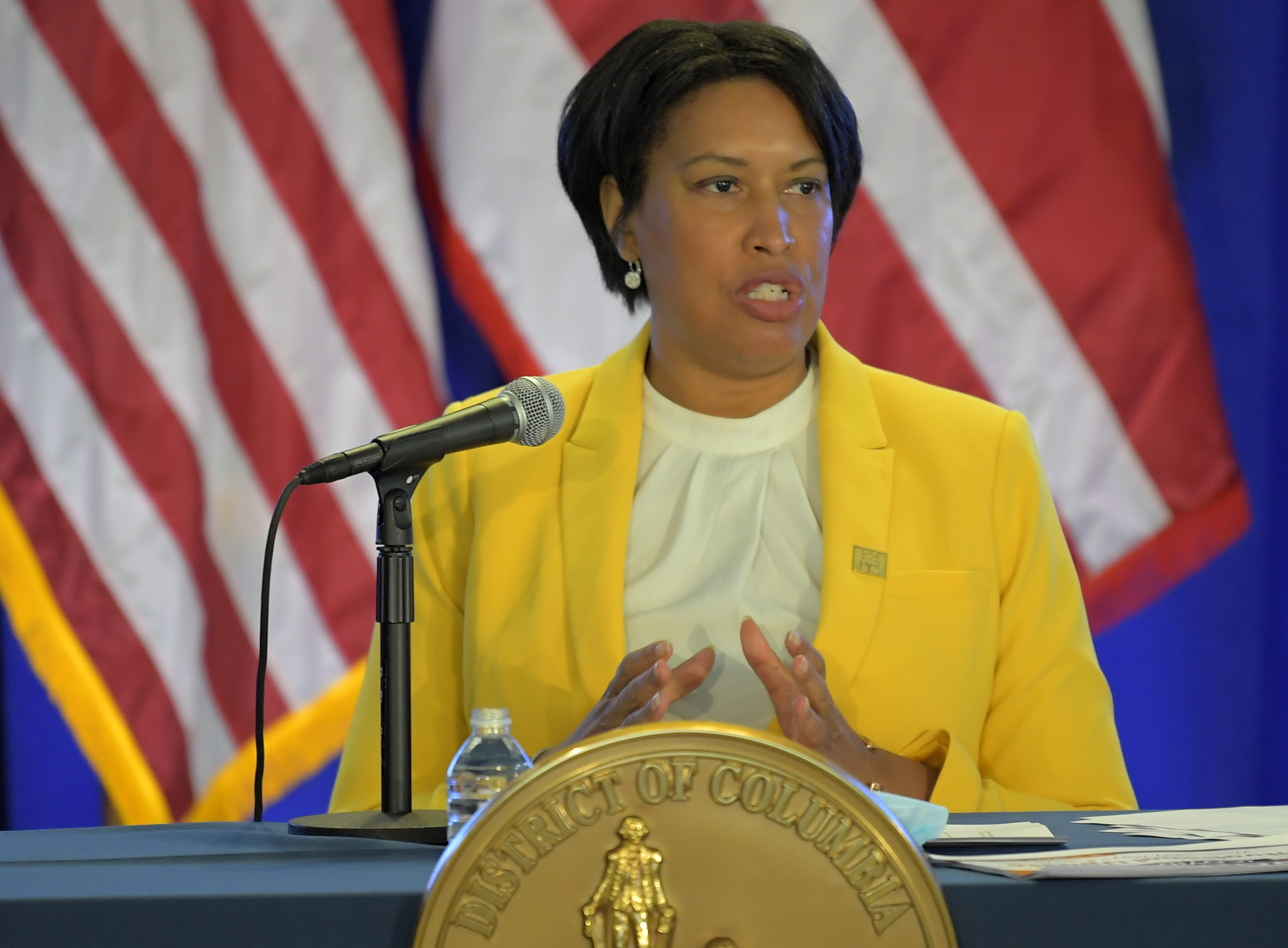 WASHINGTON, DC - MAY 13: DC Mayor Muriel Bowser held a press conference to give an update on how the city is adjusting to the coronavirus pandemic in Washington, DC on May 13, 2020. (Photo by John McDonnell/The Washington Post)