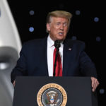 CAPE CANAVERAL, UNITED STATES - 2020/05/30: U.S. President Donald Trump speaks at NASA's Vehicle Assembly Building after watching the successful launch of a Falcon 9 rocket with the Crew Dragon spacecraft from pad 39A at the Kennedy Space Center.NASA astronauts Doug Hurley and Bob Behnken will rendezvous and dock with the International Space Station, becoming the first people to launch into space from American soil since the end of the Space Shuttle program in 2011. (Photo by Paul Hennessy/SOPA Images/LightRocket via Getty Images)