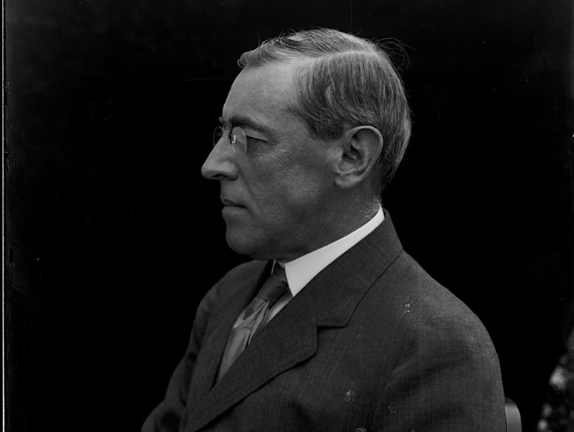 Woodrow Wilson, the 28th President of the United States, served two four-year terms from 1913-1921. Among his accomplishments was the establishment of the Federal Reserve banking system and the creation of the Federal Trade Commission. He declared war on Germany in 1917, during World War I, and attended the Versailles Peace Conference ending the war. He was awarded the Nobel Peace Prize in 1919 for his Fourteen Point peace plan and his work toward establishing the League of Nations.   (Photo by Oscar White/Corbis/VCG via Getty Images)