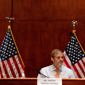 House Judiciary Committee Ranking Member Jim Jordan (R-OH) listens before a hearing on ÒOversight of the Department of Justice: Political Interference and Threats to Prosecutorial IndependenceÓ on Capitol Hill in Washington DC on June 24th, 2020.