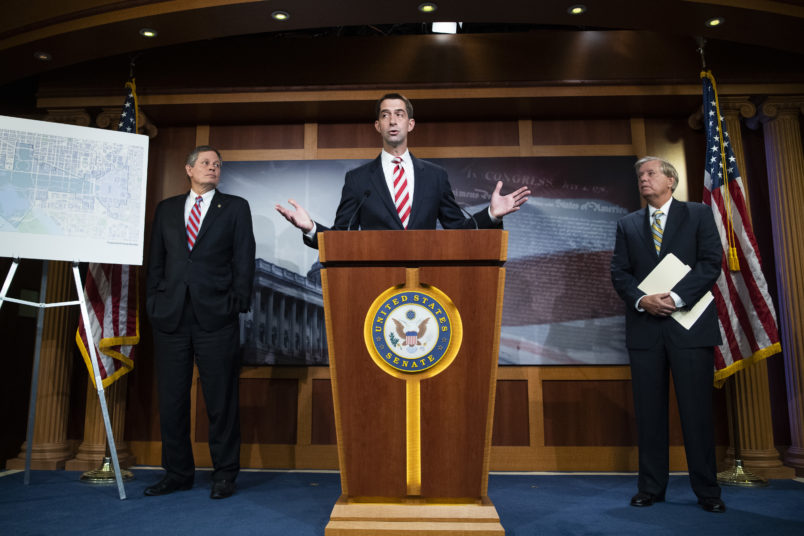 UNITED STATES - JULY 1: From left, Sens. Steve Daines, R-Mont., Tom Cotton, R-Ark., and Lindsey Graham, R-S.C., conduct a news conference to voice their opposition to D.C. statehood in Capitol on Wednesday, July 1, 2020. (Photo By Tom Williams/CQ Roll Call)