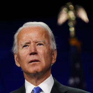 WILMINGTON, DE - AUGUST 20: Democratic presidential candidate Joe Biden delivers a speech as he accepts his party's presidential nomination at the Chase Center in Wilmington, Del., on the final day of the Democratic National Convention on Thursday, Aug. 20, 2020. The former vice president's highly anticipated remarks cap a very unconventional four-day virtual convention with the biggest speech of his lengthy political career. (Photo by Toni L. Sandys/The Washington Post)