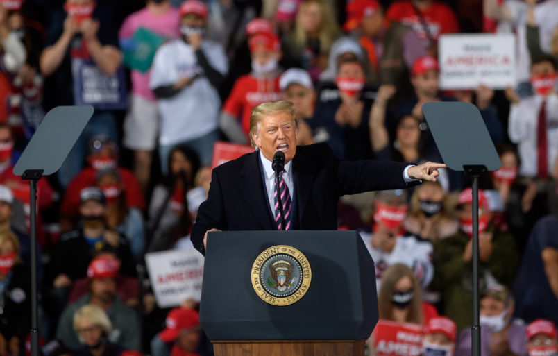 MOON TOWNSHIP, PA - SEPTEMBER 22: President Donald Trump speaks at a campaign rally at Atlantic Aviation on September 22, 2020 in Moon Township, Pennsylvania. (Photo by Jeff Swensen/Getty Images)