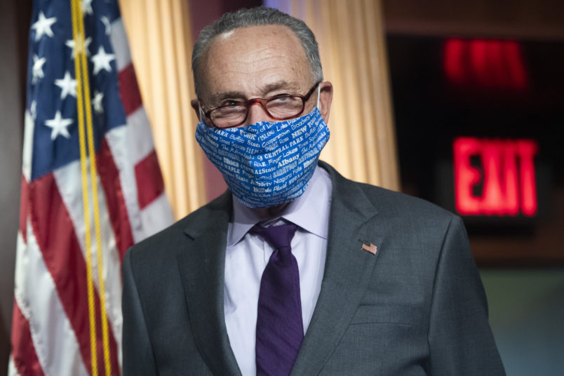 UNITED STATES - SEPTEMBER 30: Senate Minority Leader Charles Schumer, D-N.Y., conducts a news conference with Senate Democrats where they addressed topics including the Supreme Court nominee and health care in the Capitol on Wednesday, September 30, 2020. (Photo By Tom Williams/CQ Roll Call)