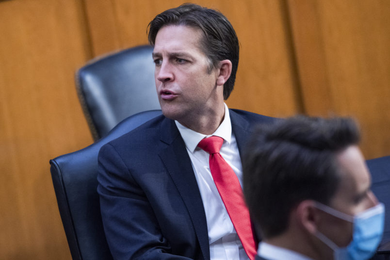 UNITED STATES - OCTOBER 15: Sens. Ben Sasse, R-Neb., left, and Josh Hawley, R-Mo., attend the Senate Judiciary Committee executive business meeting on Supreme Court justice nominee Amy Coney Barrett in Hart Senate Office Building on Thursday, October 15, 2020. (Photo By Tom Williams/CQ Roll Call/POOL)