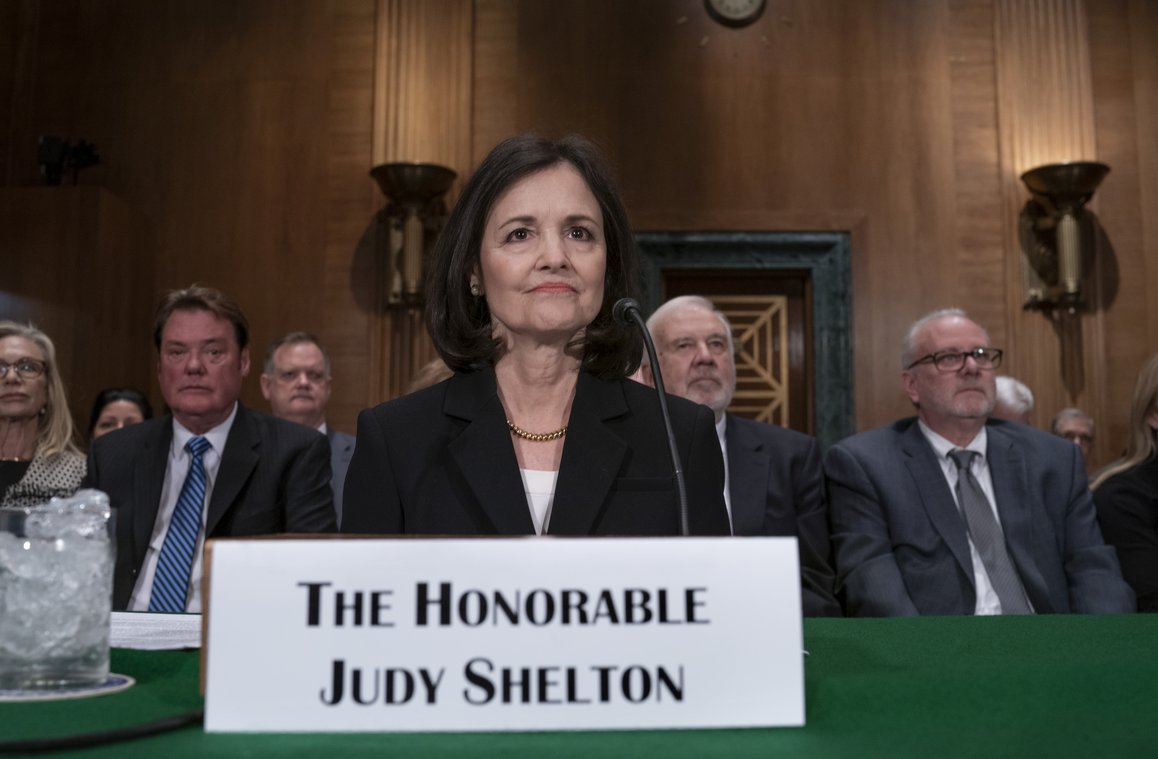 President Donald Trump's nominee to the Federal Reserve, Judy Shelton, appears before the Senate Banking Committee for a confirmation hearing, on Capitol Hill in Washington, Thursday, Feb. 13, 2020. (AP Photo/J. Scott Applewhite)