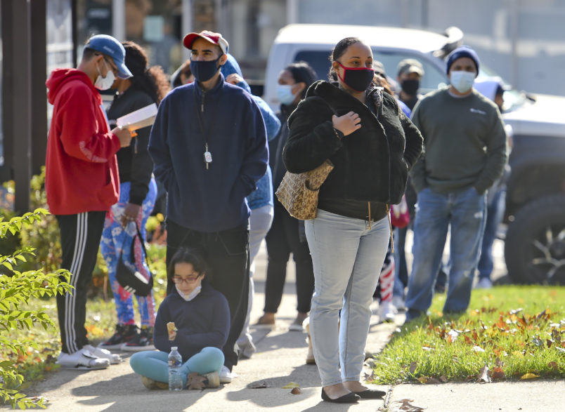 People wait in line to vote at the polling location at Christ Lutheran Church on Lehigh Street in Reading Tuesday morning  November 3, 2020 at 10:00 am. During the 2020 Presidential Election.