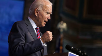 President-elect Joe Biden speaks about jobs at The Queen theater, Friday, Dec. 4, 2020, in Wilmington, Del. (AP Photo/Andrew Harnik)