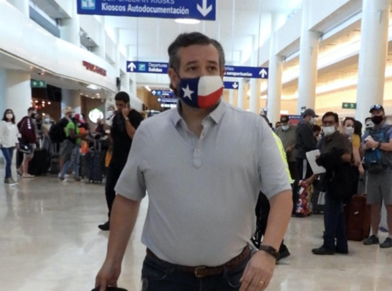 CANCUN, QUINTANA ROO  - FEBRUARY 18: Ted Cruz checks in for a flight at Cancun International Airport after a backlash over his Mexican family vacation as his home state of Texas endured a Winter storm. The Republican politician came under fire after jetting to the warm holiday destination as hundreds of thousands of people in the lone star state suffered a loss of power. Reports stated that Cruz was due to catch a flight back to Houston, Texas on February 18, 2021 in Cancun, Quintana Roo. (Photo by MEGA/GC Images)