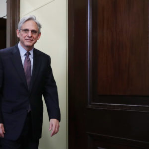 Supreme Court nominee Merrick Garland meets with Sen. Tim Kaine (D-VA) in his office in the Russell Senate Office Building on Capitol Hill April 21, 2016 in Washington, DC. President Barack Obama nominated Garland to replace Associate Justice Antonin Scalia who passed away earlier this year.