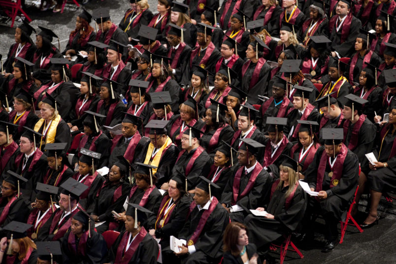 A commencement ceremony for a private, for-profit educational institution. (Photo by Brooks Kraft LLC/Corbis via Getty Images)