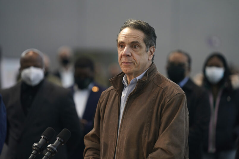 New York Gov. Andrew Cuomo speaks at a vaccination site on Monday, March 8, 2021, in New York. (AP Photo/Seth Wenig, Pool)