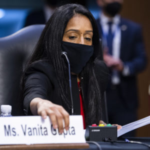UNITED STATES - MARCH 09: Vanita Gupta, nominee for associate attorney general, arrives for her Senate Judiciary Committee confirmation hearing in Hart Building on Tuesday, March 9, 2021. Lisa Monaco, nominee for deputy attorney general, also testified. (Photo By Tom Williams/CQ Roll Call)