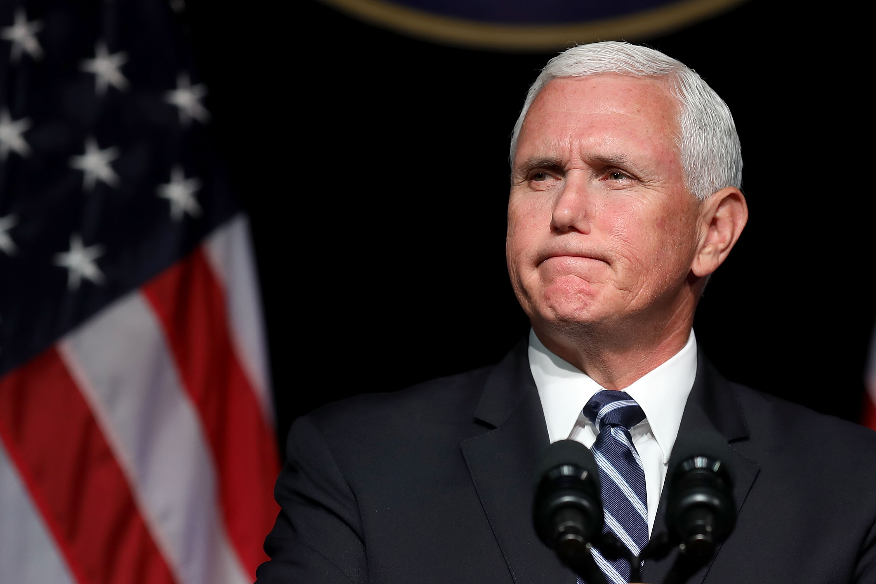U.S. Vice President Mike Pence announces the Trump Administration's plan to create the U.S. Space Force by 2020 during a speech at the Pentagon August 9, 2018 in Arlington, Virginia. Describing space as advasarial and crowded and citing threats from China and Russia, Pence said the new Space Force would be a separate, sixth branch of the military.