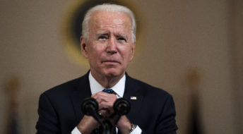 President Joe Biden  with Vice President Kamala Harris looking on makes remarks about the Derek Chauvin Trial, at the White House, Tuesday April, 20, 2021. (Photo by Doug Mills/The New York Times)