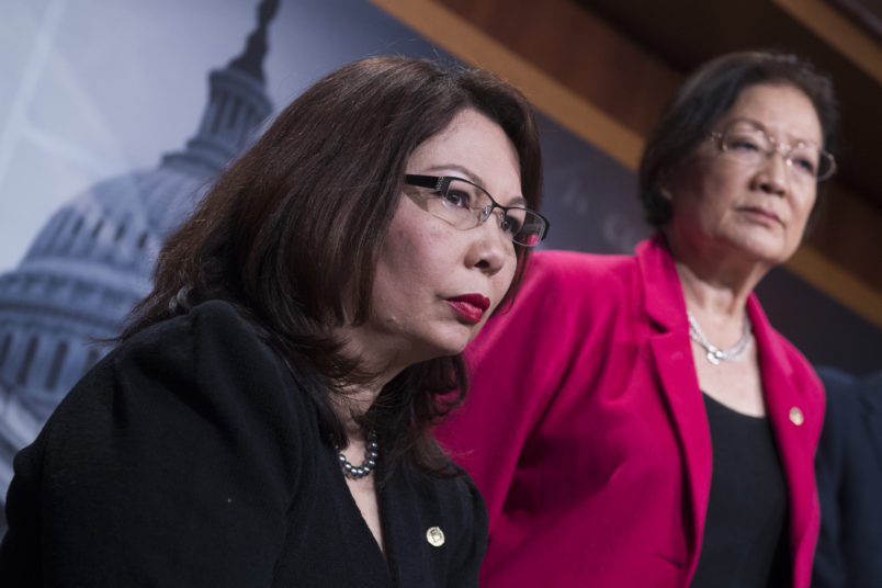 UNITED STATES - JANUARY 12: Rep. Tammy Duckworth, D-Ill., and Sen. Mazie Hirono, D-Hawaii, attend a news conference in the Capitol to oppose the nomination of attorney general nominee Sen. Jeff Sessions, R-Ala., January 12, 2017. (Photo By Tom Williams/CQ Roll Call)