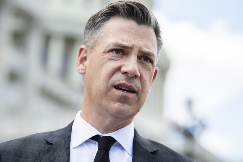 UNITED STATES - MAY 13: Rep. Jim Banks, R-Ind., talks with reporters on the House steps of the Capitol on Thursday, May 13, 2021. (Photo By Tom Williams/CQ Roll Call)