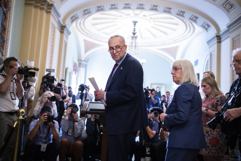 UNITED STATES - JULY 20: Senate Majority Leader Charles Schumer, D-N.Y., and Sen. Patty Murray, D-Wash., arrive for a news conference after the Senate Democratic policy luncheon in the Capitol on Tuesday, July 20, 2021. (Photo By Tom Williams/CQ Roll Call)