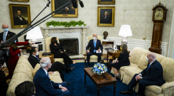President Joe Biden and Vice President Kamala Harris meet with governors and mayors in the Oval Office in Washington, D.C., on Friday, Feb. 12, 2021, to discuss the vital need to pass the American Rescue Plan, which will get more support to their communities and those on the front lines of the fight against COVID-19. Attending where:Governor Andrew Cuomo (D-NY) Governor Asa Hutchinson (R-AR)Governor Michelle Lujan Grisham (D-NM)Governor Larry Hogan (R-MD)Mayor Keisha Lance Bottoms (D-Atlanta GA)Mayor Latoya Cantrell (D-New Orleans, LA)Mayor Mike Duggan (D-Detroit, MI)Mayor Francis Suarez (R-Miami, FL)Mayor Jeff Williams (R-Arlington, TX)(photo by Pete Marovich for The New York Times)